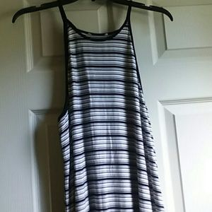 A Eagle, striped, midi dress.